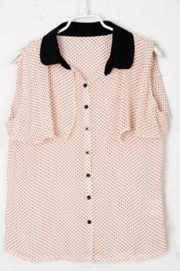 Beige Sleeveless Polka Dot Cape Chiffon Shirt