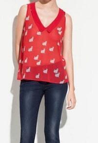Red Cat Print Chelsea Collar Sleeveless Blouse