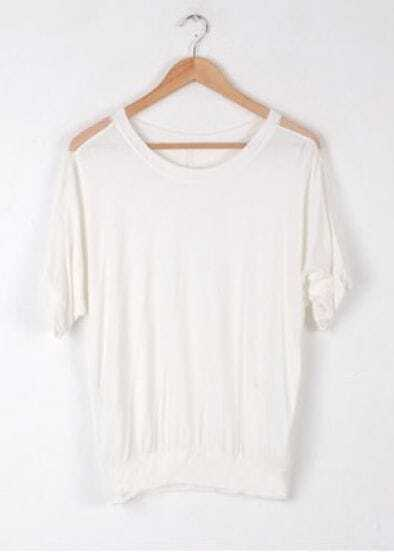 White Plain Round Neck Short Batwing Sleeve Loose Cotton T-Shirt