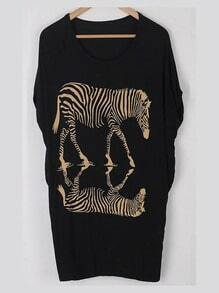 Black Round Neck Short Sleeve Zebra Print Loose T-Shirt