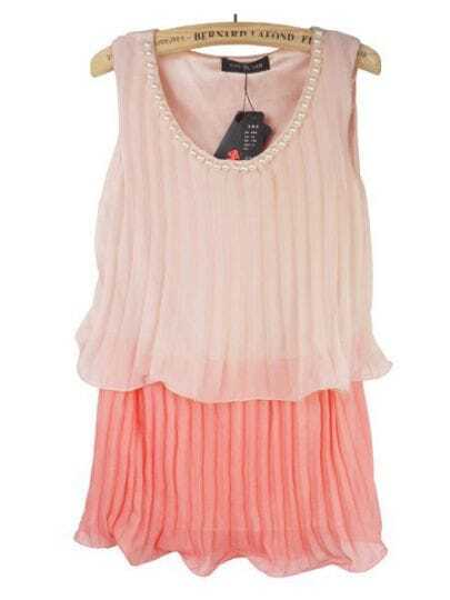Pink Pearls Embellished Neck Sleeveless Pleated Layer Blouse