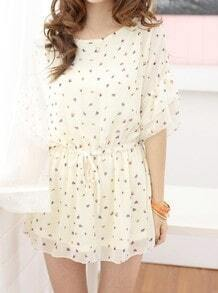 Beige Round Neck Half Sleeve Floral Loose Ruffles Chiffon Dress