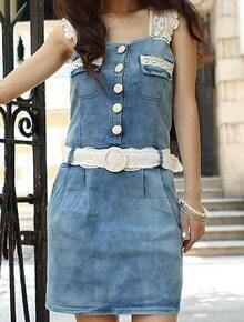 Blue Square Sleeveless Lace Single Breasted Denim Low Waist Dress