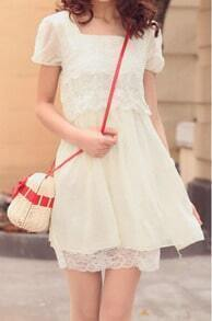 Beige Lace Square Short Sleeve Dress
