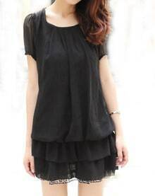 Black Tiered Chiffon Short Sleeve Dress