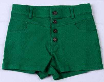 Green Colored High Waist Shorts