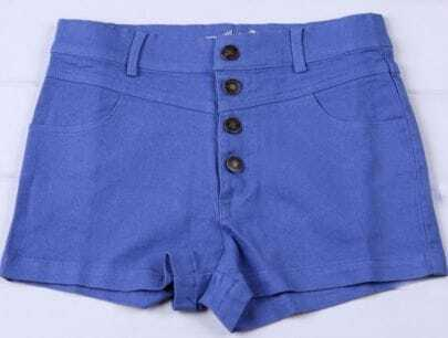 Blue Colored High Waist Shorts