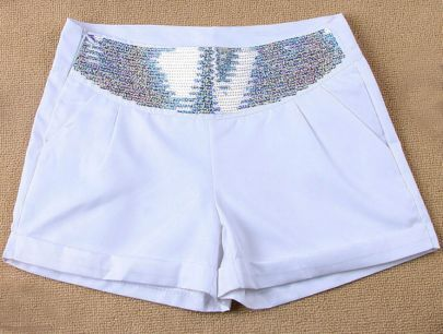 White Colored Sequined Drop Waist Shorts