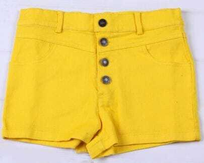 Yellow Colored High Waist Shorts