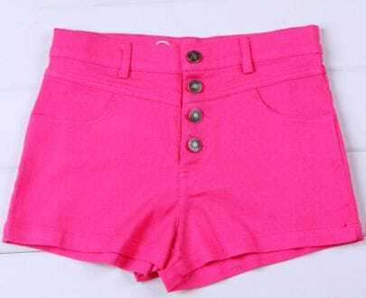 Rose Red Colored High Waist Shorts