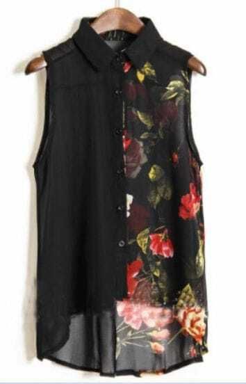Black Ink Floral Print Sleevelless Chiffon Sheer Shirt