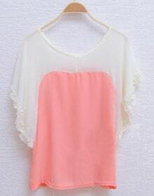 Pink Frill Batwing Sleeve Scoop Neck Chiffon Blouse