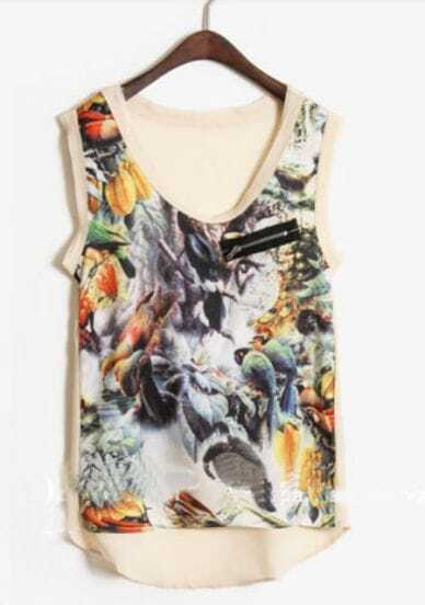 Beige Zip Pocket Birds Print Sleeveless Dipped Hem Blouse