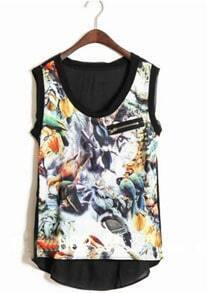 Black Zip Pocket Birds Print Sleeveless Dipped Hem Blouse