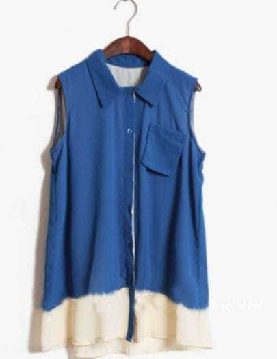 Blue Lapel Sleeveless Pocket Blouse with Contrast White Hem