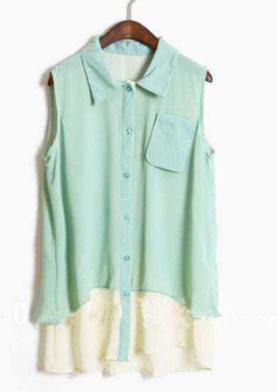 Light Green Lapel Sleeveless Pocket Blouse with Contrast White Hem