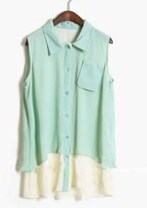 Light Green Lapel Sleeveless Pocket Blouse with Contrast White Hem