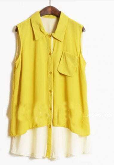 Yellow Sleeveless Pocket Shirt with Contrast White Hem