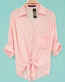 Pink Revere Collar Three Quarter Length Sleeve Pocket Shirt