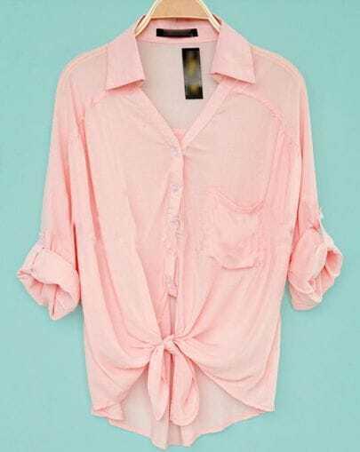 Pink Revere Collar Three Quarter Length Sleeve Pocket Shirt