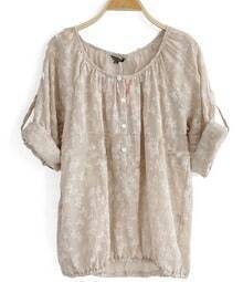 Light Brown Round Neck Long Sleeve Floral Lace Shirt