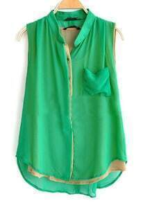 Green Sleeveless Pocket Curved Hem Layers Shirt