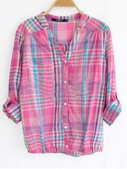 Red High Neck Long Sleeve Single Breasted Plaid Shirt