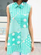 Green Sleeveless Polka Dot Geo Print Chiffon Asymmetrica Shirt