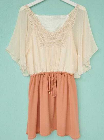 Pink V Neck Short Sleeve Color Block Pleated Chiffon Dress