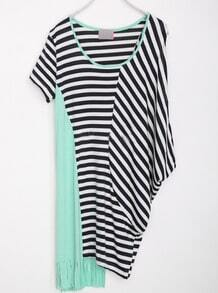 Green Round Neck Short Sleeve Color Block Striped Asymmetrical Cotton Dress
