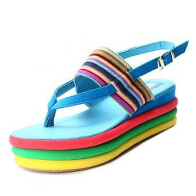 Blue Suede Multi Sole Flat 55mm Sandals