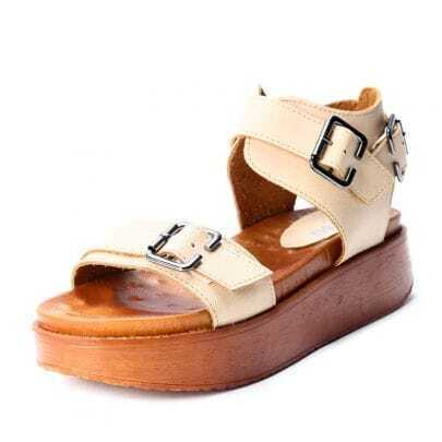 Beige PU Buckle Strap Flat 52mm Sandals