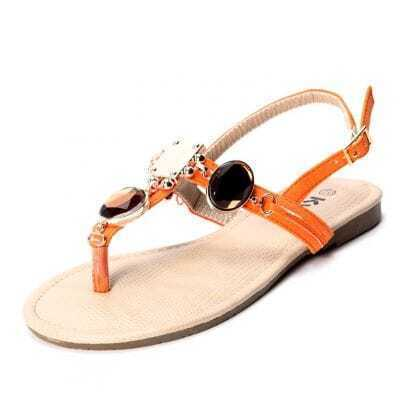 Orange PU Yellow Jewelled 10mm Sandals