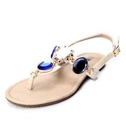 Beige PU Blue Jewelled 10mm Sandals