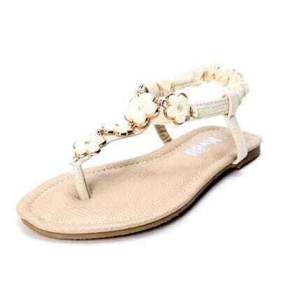 Beige PU Flowers Rhinestone 10mm Sandals