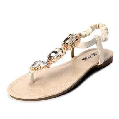 Beige PU Jewelled 10mm Sandals