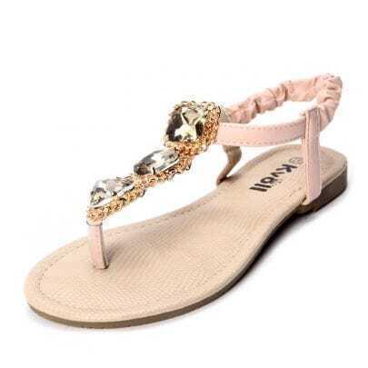 Pink PU Jewelled 10mm Sandals
