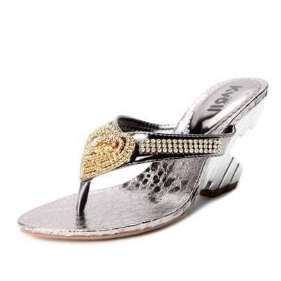 Silver PU Heart Jewelled 90mm Sandals