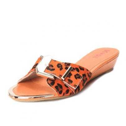 Orange Calf Hair Leopard Buckle Strap 40mm Sandals