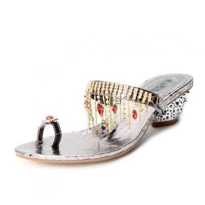 Silver PU Rhinestone Jewelled 55mm Sandals