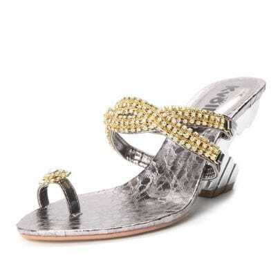 Silver PU Rhinestone Chain 90mm Sandals