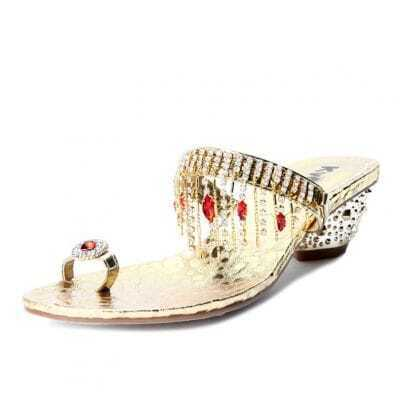 Gold PU Rhinestone Jewelled 55mm Sandals