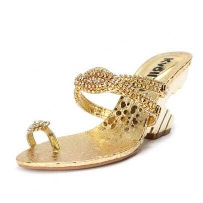 Gold PU Rhinestone Chain 90mm Sandals