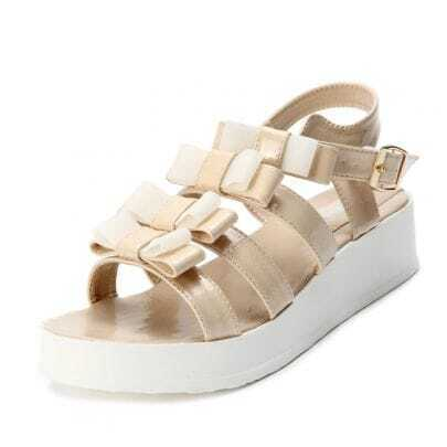 Beige Patent Leather Bow 40mm Sandals