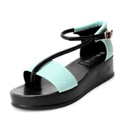 Blue And Black Color Block Snakeskin PU Buckle Strap 40mm Sandals
