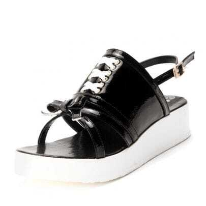 Black Patent Leather Bow 40mm Sandals