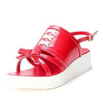 Red Patent Leather Bow 40mm Sandals
