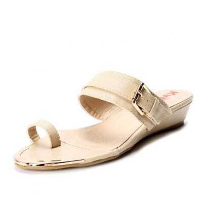 Beige PU Buckle Strap 35mm Sandals