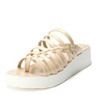 Beige Patent Leather Pierced 40mm Sandals