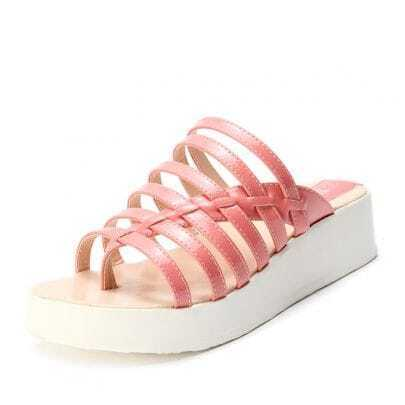 Pink Patent Leather Pierced 40mm Sandals